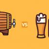 birra alla spina o in bottiglia barile bicchiere